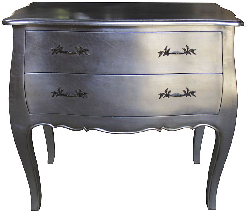 Bombe Chest In Black And Silver